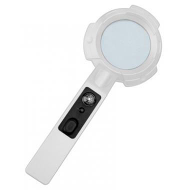 Лупа Kromatech ручная круглая 4x, 65 мм, с компасом и подсветкой, ультрафиолет (8 LED) TH-600557H