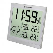 Метеостанция (настенные часы) Bresser TemeoTrend JC LCD с радиоуправлением, серебристая Q3
