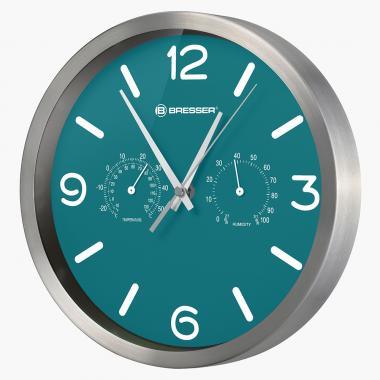 Часы настенные Bresser MyTime ND DCF Thermo/Hygro, 25 см, бирюзовые